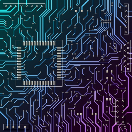 Circuit board. Blue printed circuit board. Tracks on the electronic board. Vector illustration.
