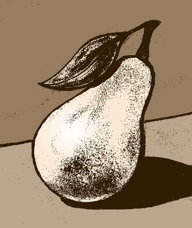 Pear. Illustration of pear fruit. Pear with a leaf. Imagens