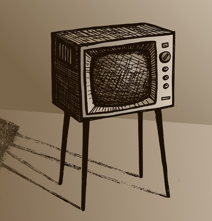 Old TV. Sketch of a retro TV set on legs. Illustration in sepia style. Imagens
