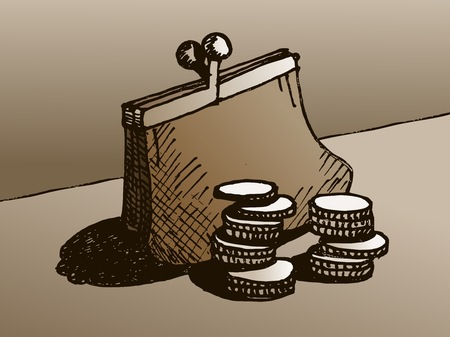 Wallet with money. Sketch of a purse with coins. Drawing of a purse.