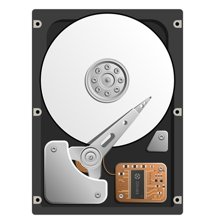 Vector illustration of the HDD. Hard disk drive isolated on white background. A open HDD Drive.