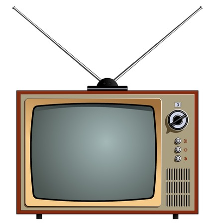 A vector illustration of the old tv. Video receiver screen. Retro old tv isolated on white background. Illusztráció