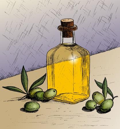 Vector illustration of Olives. Sketch of Olives. Olives and a bottle of olive oil. Ilustração