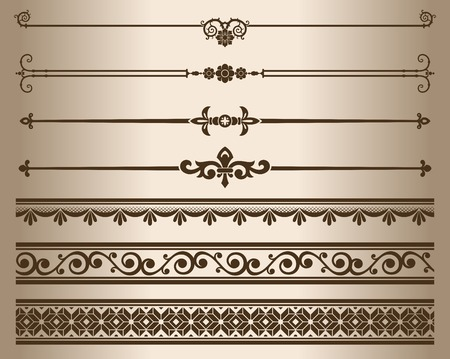 Decorative elements. Design elements - decorative line dividers and ornaments. Vector illustration. Ilustração