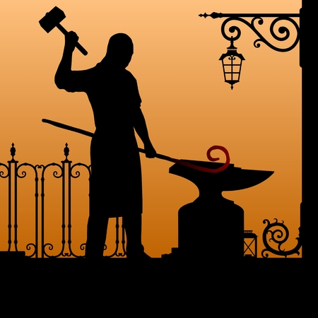 Silhouette of the blacksmith in the smithy.