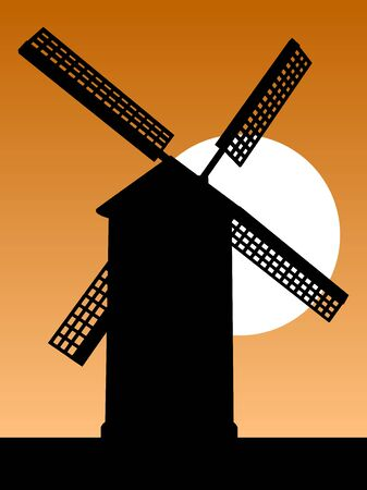 Mill silhouette. Old mill silhouette on the sky background at sunset. Vector illustration. Illusztráció
