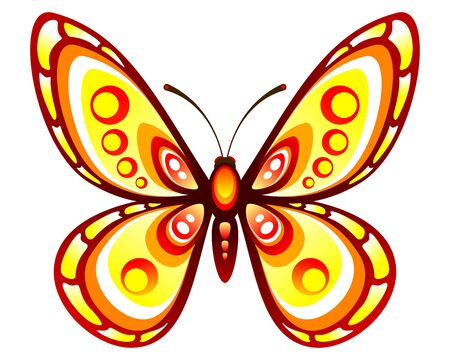 Decorative butterfly. Stylized color butterfly. Vector illustration.