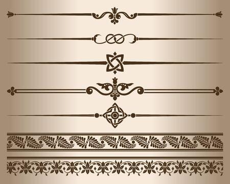 Dekorative Elemente. Designelemente - dekorative Linienteiler und Ornamente. Vektor-Illustration. Monochrome dekorative grafische Elemente. Vektorgrafik
