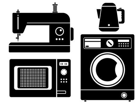 Household appliances icons set. Simple silhouettes of household appliances isolated on white background. Vector illustration.