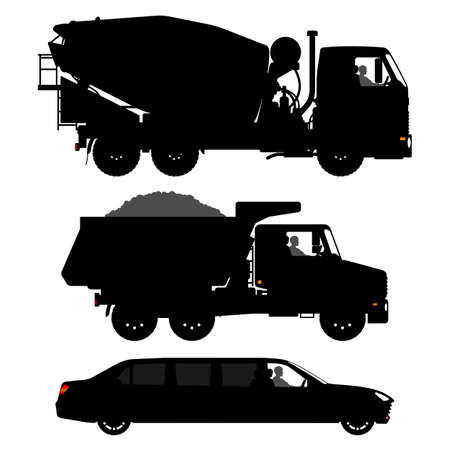 Set of different transport silhouettes. Black truck silhouette isolated on white background. Limousine Silhouette Images. Vector illustration.