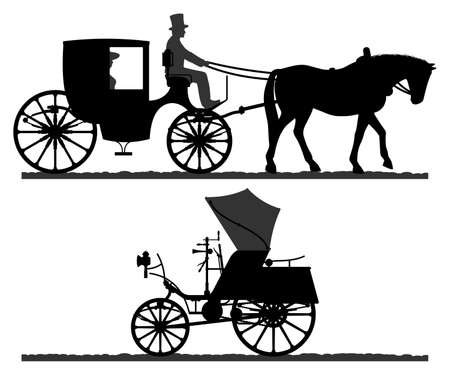 Retro transport silhouettes. Silhouette of a horse-drawn carriage with a coachman. Retro car silhouette. Vector illustration.