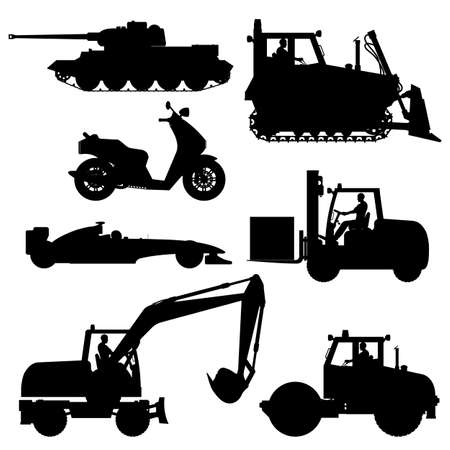 Set of different transport silhouettes. Set of black construction, special machines and other vehicles in a flat style. Special equipment. Vector illustration.