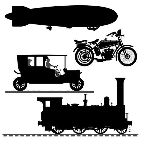 Set of different transport silhouettes. Black silhouettes of vehicles on a white background. Vector illustration.