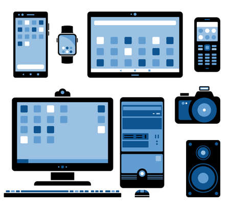 Set of stylized electronic devices. Stylized images of home electronics and gadgets. Desktop Computer Stylized Vector illustration.