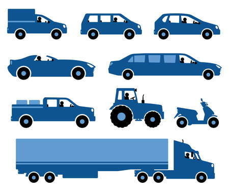 Set Of Cars Silhouettes. Stylized silhouettes Cars on a white background. Set of different transport silhouettes. Vector illustration.