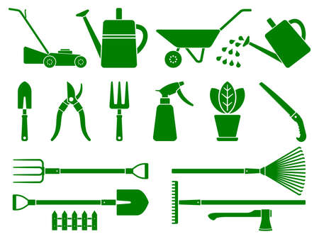 Set Of stylized garden tools. Gardening instruments. Various stylized garden tools isolated on white background. Garden equipment set. Vector illustration. Vector Illustration
