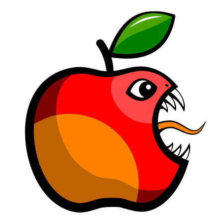 Angry toothy apple. A bitten apple with a leaf. Vector illustration.