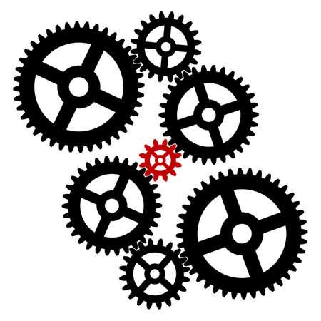 Gear mechanism on a white background. Cogwheel symbol. Vector illustration.