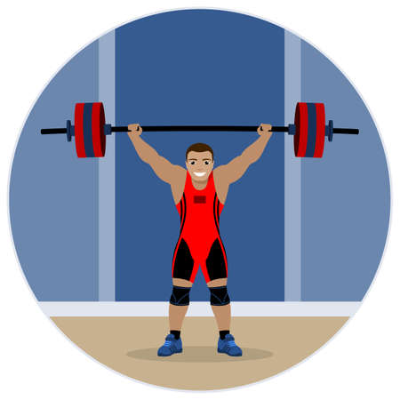 Strong weightlifter lifted the barbell. Vector illustration. Ilustración de vector