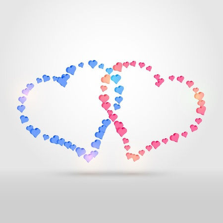 background with two hearts Stock Vector - 18440869
