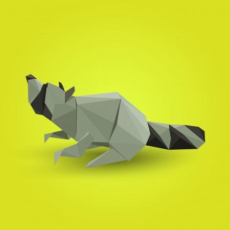 Vector illustration of origami raccoon