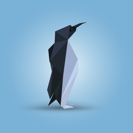 Vector illustration of origami penguin Vector