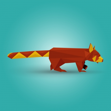 Vector illustration of origami red panda