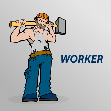 Vector illustration of cartoon worker  Vector