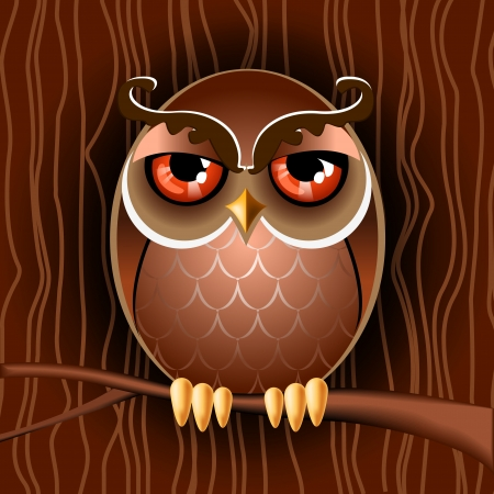 Vector illustration of a brown owl on a branch  Stock Vector - 18454225