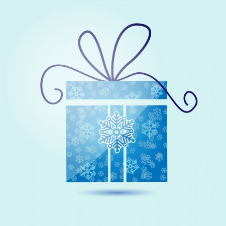 Vector illustration of Christmas gift box with snowflakes. Stock Vector - 18454279