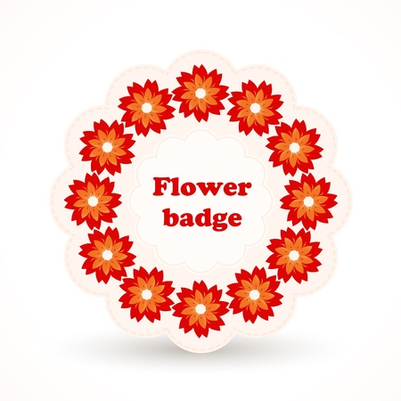 Vector badge with flowers Vector