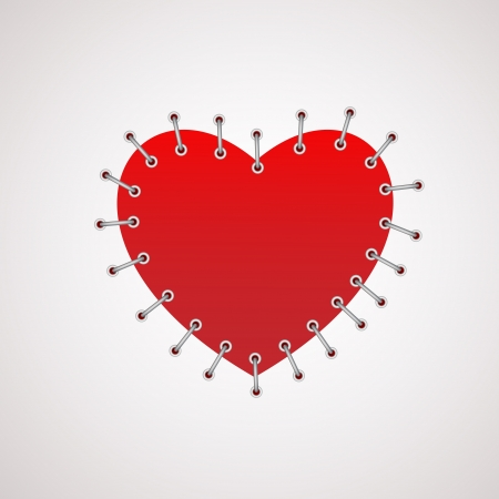 Vector illustration of a heart with seam. Stock Vector - 18586485