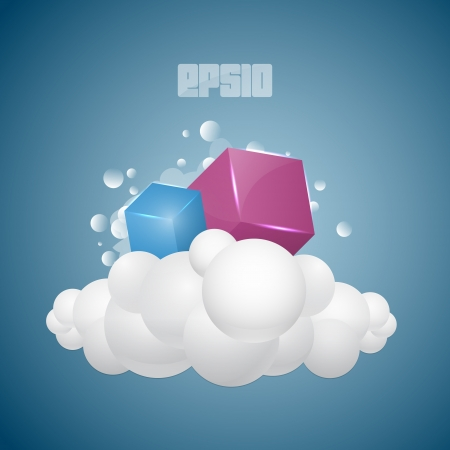 Vector background with cubes on cloud. Stock Vector - 18586496