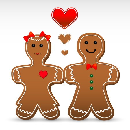 Gingerbread boy and girl cookies. Vector illustration. Vector