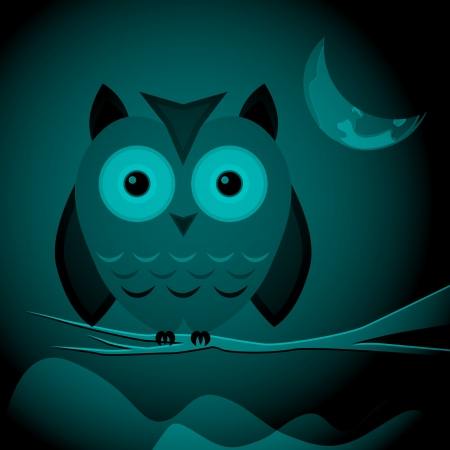 Owl on the branch. Vector illustration. Vector