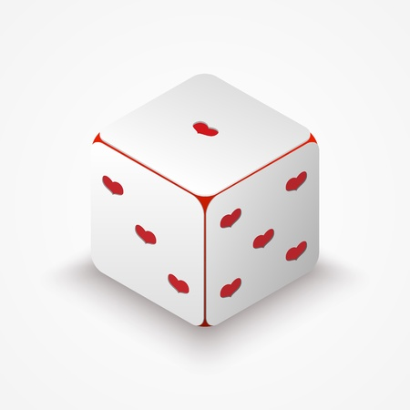 Vector illustration of dice with red hearts. Stock Vector - 18586486