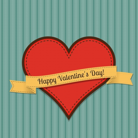 Vector vintage greeting card for Valentines day. Vector