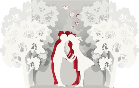 illustration of a kissing couple. Vector