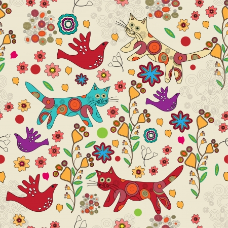 folk background with cats.