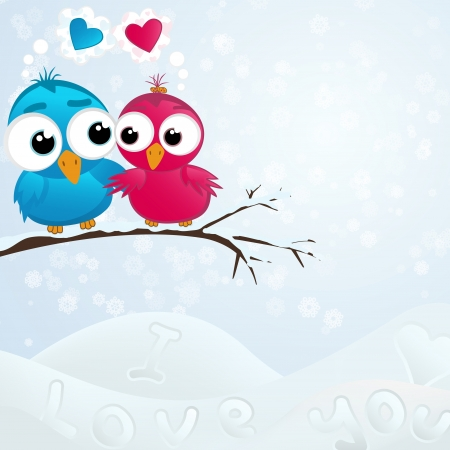 Couple of birds in love illustration Vector