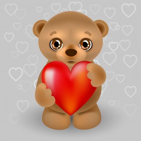 illustration of a teddy bear with a heart. Vector