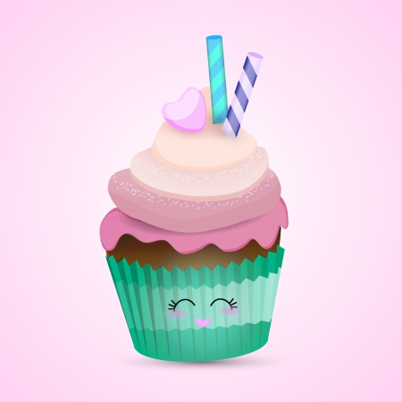 Pink cupcake illustration. Vector
