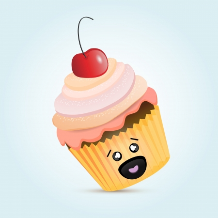 Cupcake with cherrie Stock Vector - 18694488