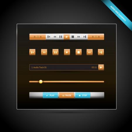 Media control navigation panel. video web elements illustration Stock Vector - 18694462