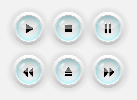 set of media buttons. Stock Vector - 18694470