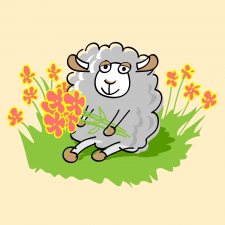 Cute cartoon sheep. illustration. Vector