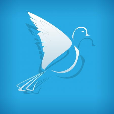 paper dove on blue background. Vector