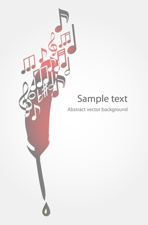 Vector background with feather and music notes. Vector