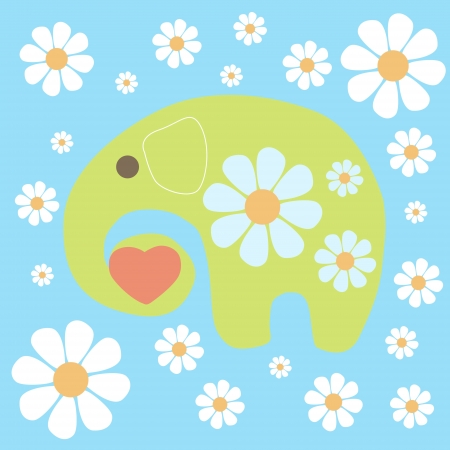 background with elephant and flowers. Vector