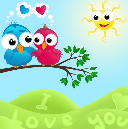 Couple of birds in love. illustration. Vector